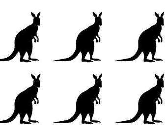 30 Kangaroo Stickers, Kangaroo Decal, Kids Nursery Wall Decor, Envelope Seals, Removable Wallpaper, Animal Sticker Aussie Decal, Party Theme