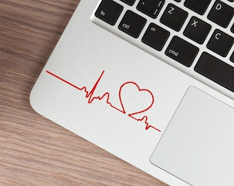 Heartbeat MacBook Decal, Love Sticker, Cardiogram Laptop Decals, Car decal, Heart Sticker for MacBook Pro Air, IPad Nurse Doctor Heart Decal