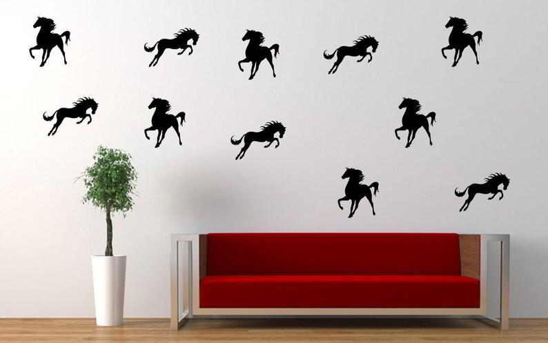 40 horse wall decals horse theme vinyl wallpaper animal wall | etsy