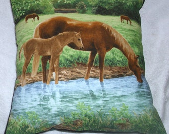 Mare and foal in river cushion