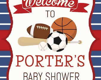 Baby Shower Welcome Sign. Personalized Sportsl Welcome Sign