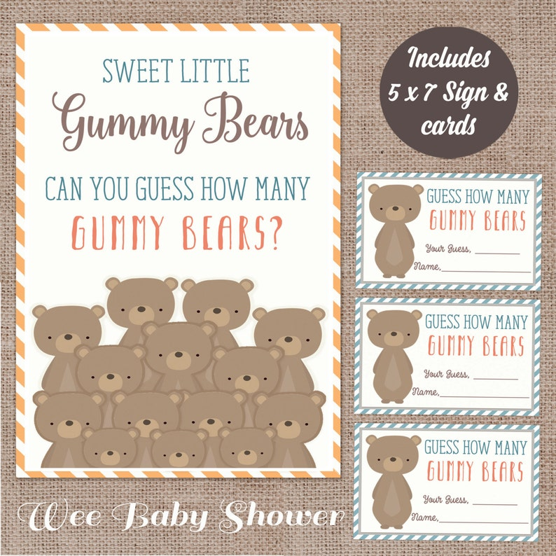 graphic regarding Gummy Bear Printable named Woodland Boy or girl Shower Gummy Go through guessing recreation