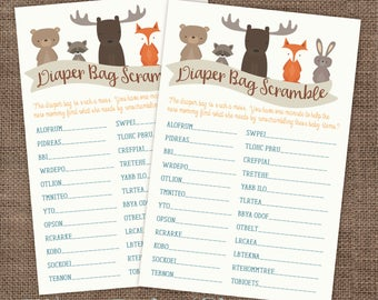 Baby Shower Game Woodland Animals Diaper Bag Word Scramble Game