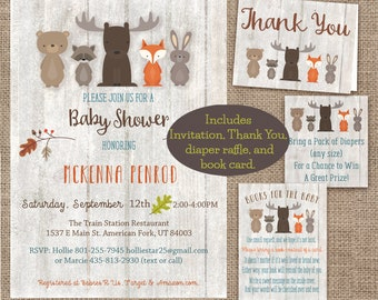 Instant Download Editable Woodland Baby Shower Invitation