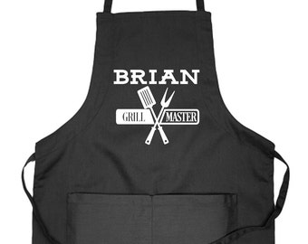 Personalized Apron, Custom Apron, Apron for Men, Grill Master, Gift for Grillers, Gift for Grill Lover, Gift Idea for Griller, BBQ Apron