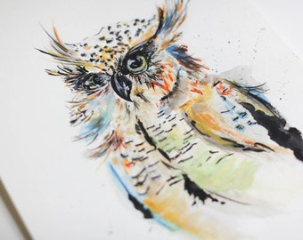 Wise owl watercolor print