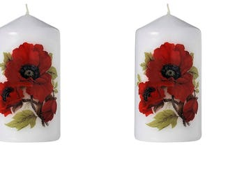 Poppies - Scented Floral Bouquet Pillar Candle (Set of Four)