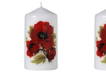 Poppies - Scented Floral Bouquet Pillar Candle (Set of Three)