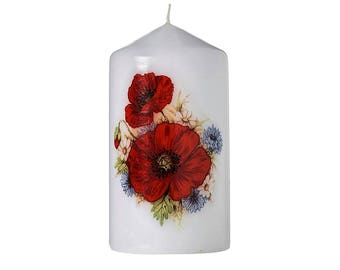 Poppy Meadow - Floral Bouquet Scented Pillar