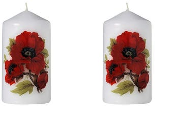 Poppies - Scented Floral Bouquet Pillar Candle (Set of Six)