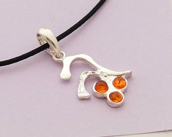 Silver Pendant and amber