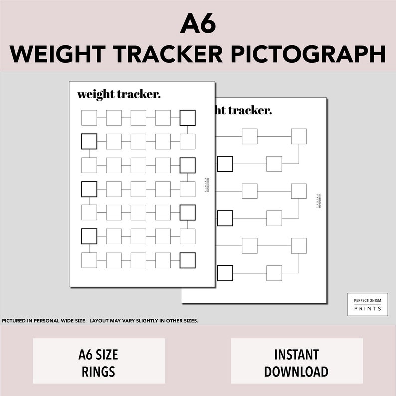 A6 RINGS Color-In Weight Tracker // Weight Loss Pictograph image 0