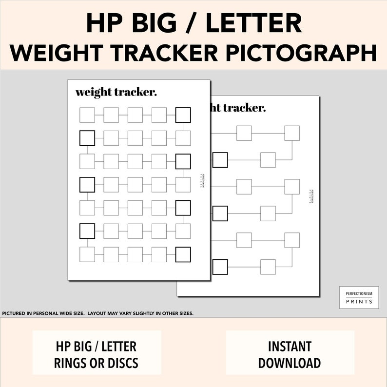 LETTER / HP BIG Color-In Weight Tracker // Weight Loss image 0