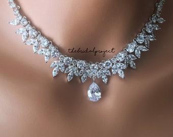 Bridal Necklace Set, Wedding Necklace Set, Silver Bridal Necklace Set, Silver Wedding Necklace Set, CZ Necklace Set, Cubic Zirconia Necklace