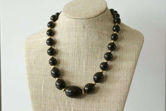Vintage bakelite necklace, Antique necklace, Black