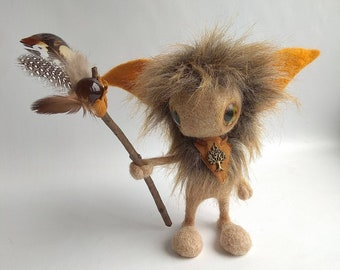 Forest Spirit, the Keeper of Birds, needle felted sculpture on wire frame, with a magic wand with feathers,  mythical creature, cute monster
