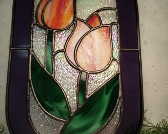 Stained Glass Tulip Suncatcher with Border