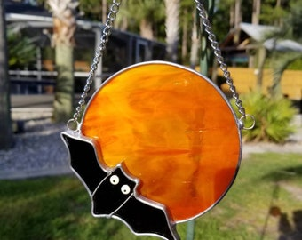 Bat Stained Glass Halloween Suncatcher, Halloween Decoration,  Fall decorations