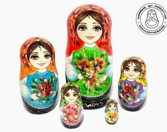 Green Cool mall 7pcs Handmade Wooden Nesting Dolls Matryoshka Russian Doll