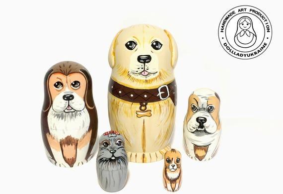 7 Dog Figurines Toy Dog Lover Gifts MATRYOSHKAHANDICRAFT Dog Nesting Dolls