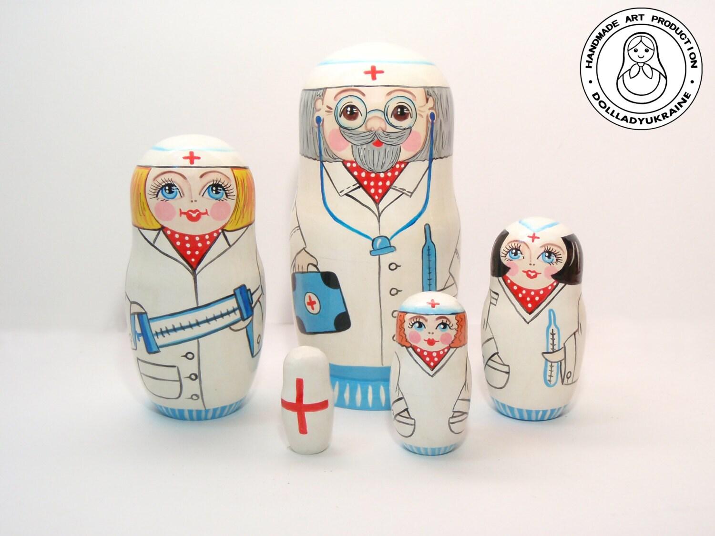 Arzt und Krankenschwestern Puppe Matroschka 5pcs 16 cm   Etsy