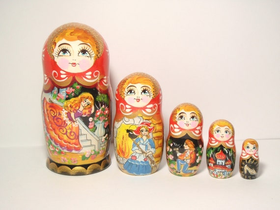 """Nesting doll /""""Cinderella/"""" 10 pcs 10 Inches handmade collectible"""