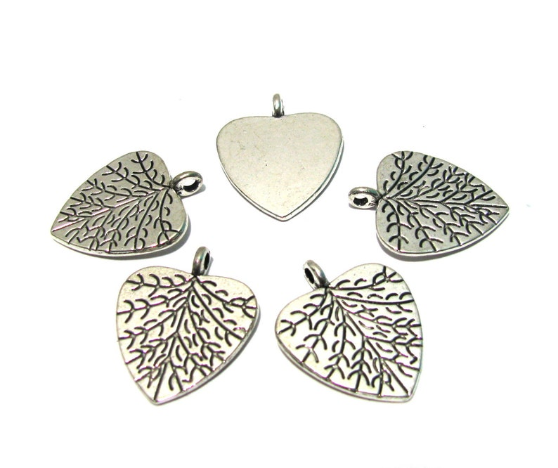 5pcs Large Antique Silver Leaf Charms Pendants for Jewelry Making Findings