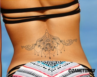 Geometric Rose Tattoo Geometric Tattoo Rose Fake Tattoo Floral Etsy