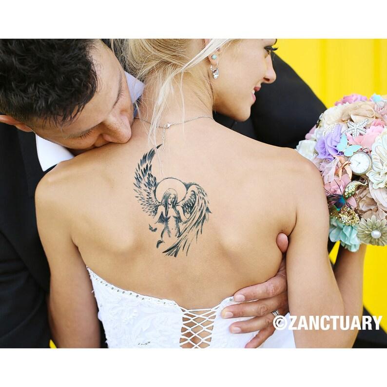 Engel Temporäres Tattoo Engel Tattoo Engelsflügel Tattoo Mond Etsy