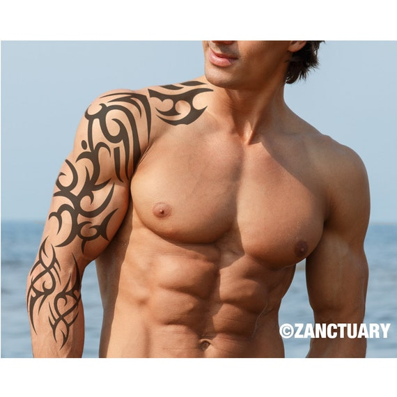 Tribal Tymczasowy Tatuaż Rękaw Tribal Ramię Tatuaż Pełny Arm Tymczasowy Tattoo Men Duży Tatuaż Fake Tribal Tattoo Tatouage Temporaire Zanctuary