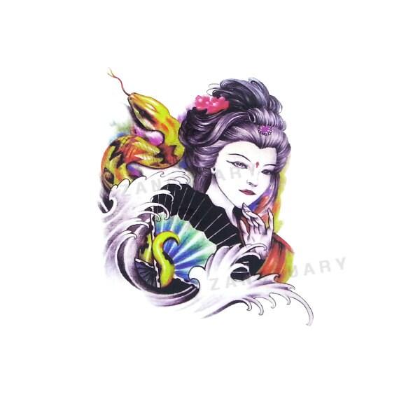 Geisha Temporary Tattoo Japanese Tattoo Half Sleeve Tattoo Etsy