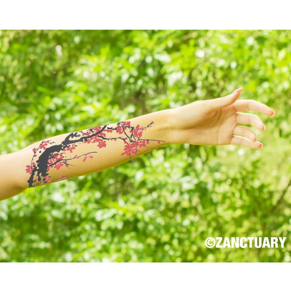 Watercolor Temporary Tattoo Watercolor Tattoo Cherry Blossom Etsy