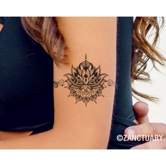 Lotus Temporary Tattoo Lotus Tattoo Lotus Fake Tattoo Lotus Etsy