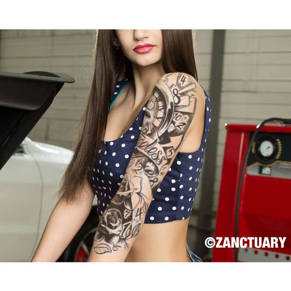 rose temporary tattoo sleeve women floral temporary tattoo