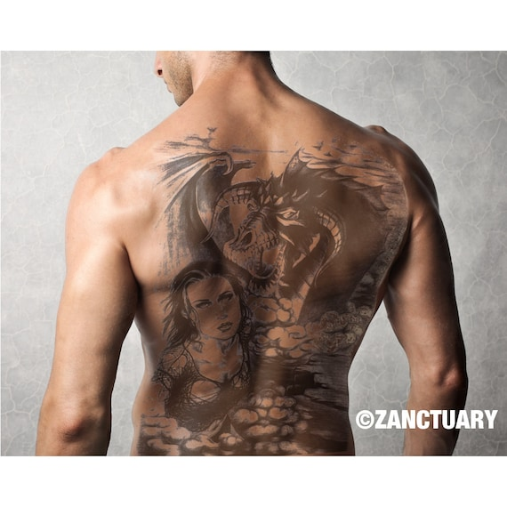 Men Temporary Tattoo Full Back Temporary Tattoo Large Back Etsy