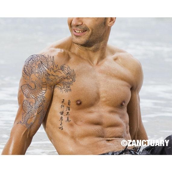 Smok Tymczasowy Tatuaż Smok Tatuaż Klatki Piersiowej Etsy