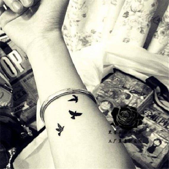 b0a5d76e0 3 Sheets Bird Temporary Tattoo Bird Tattoo Flying Bird Tattoo | Etsy