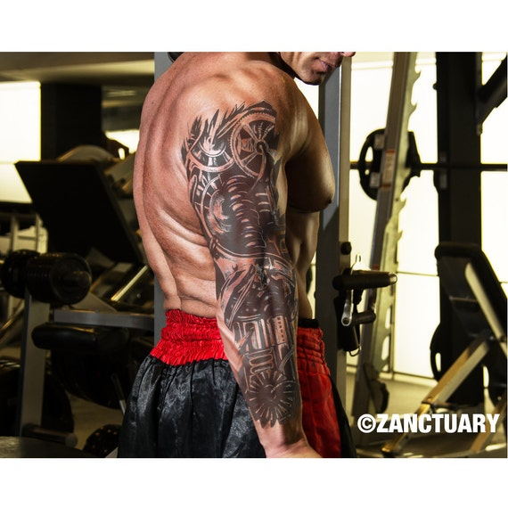 steampunk temporary tattoo sleeve full arm sleeve tattoo
