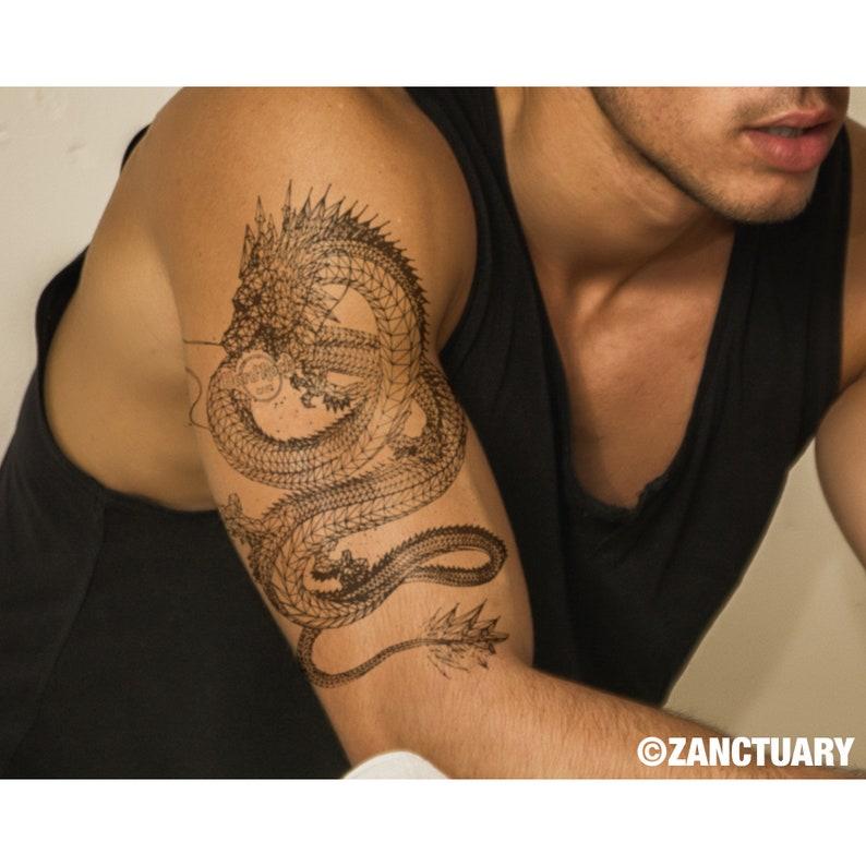 6e179a9a6 Dragon Tattoo Dragon Temporary Tattoo Dragon Fake Tattoo for | Etsy