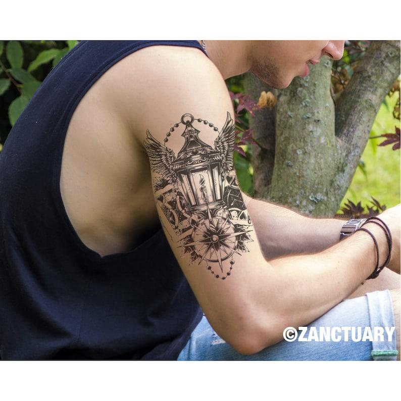 Poker Tymczasowy Tattoo Poker Tatuaż Kompas Tymczasowy Tatuaż Skrzydła Fake Tattoo Men Tymczasowy Tatuaż Faux Tatouage Temporaire Zanctuary
