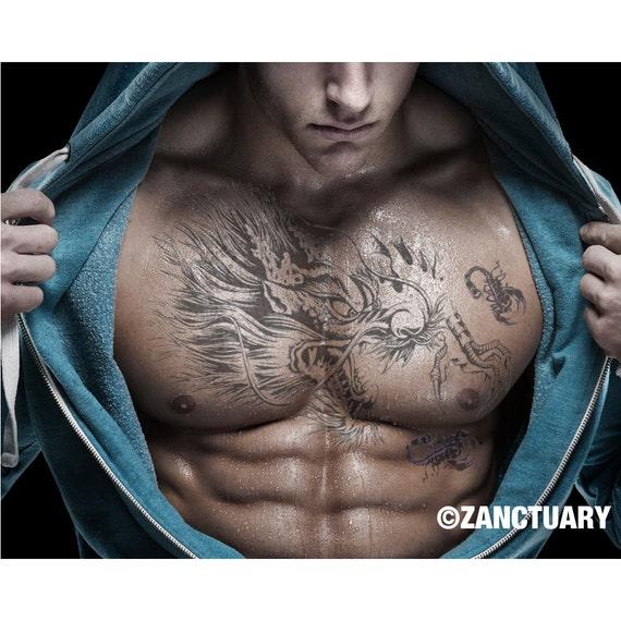 Pecho del tatuaje temporal pecho tatuaje hombres tatuaje