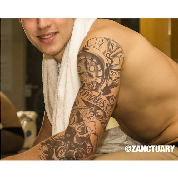 Les Hommes Tatouage Temporaire Manche Noir Rose Tattoo Bras Etsy