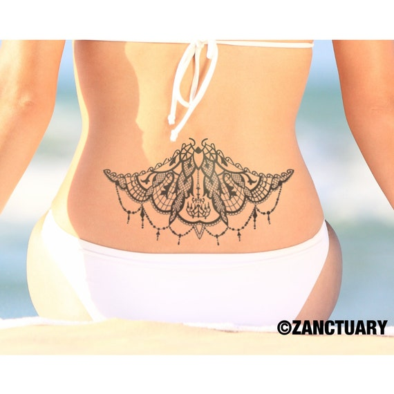 9828f8522 Henna Temporary Tattoo Back Tattoo Large Back Tattoo Lower | Etsy