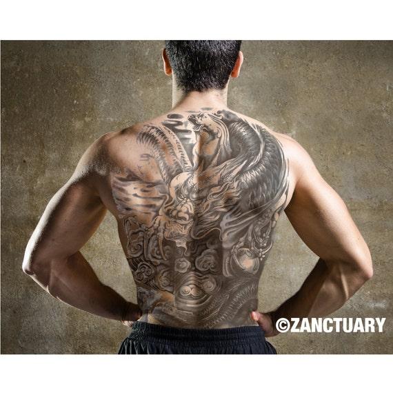 tatouage temporaire homme complet grand tatouage dos tatouage | etsy