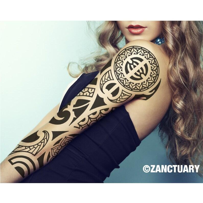 122b80ed9 Polynesian Temporary Tattoo Sleeve for Women Polynesian Tattoo   Etsy