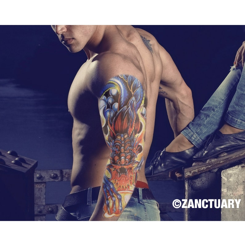 Drago Tatuaggio Temporaneo Manica Braccio Completo Manica Etsy