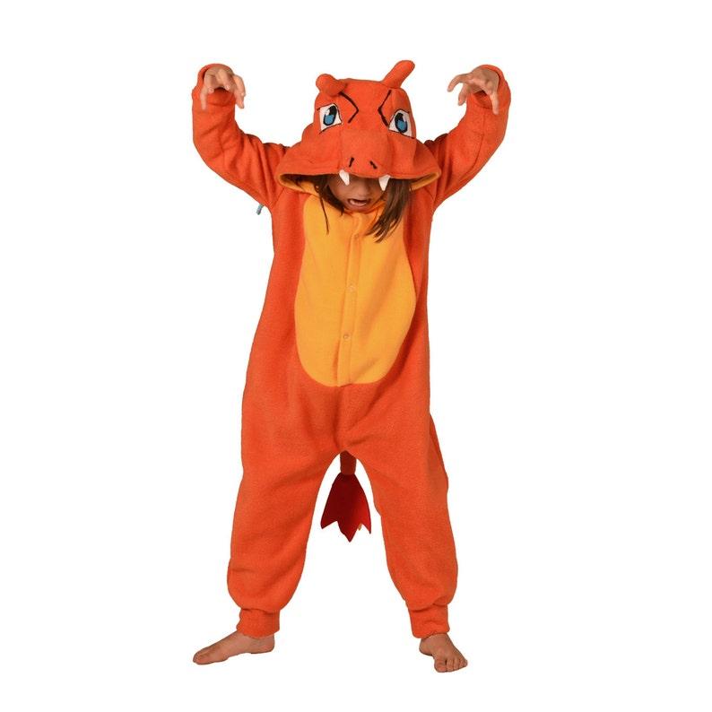 76f9410cb893 Kids Animal Onesie Kigurumi Cosplay Orange Dragon