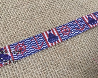 Sailboat Fold Over Elastic- Anchor Elastic- Nautical Elastic- Nautical FOE- Summer FOE- Wholesale- DIY Headband- Elastic by the Yard