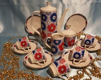 Vintage porcelain coffee set, GDR Colditz rare