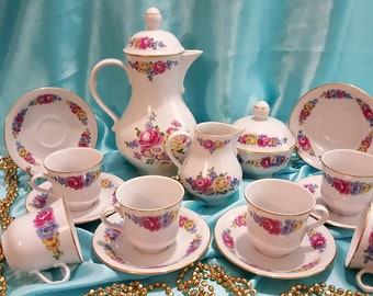 Vintage porcelain coffee tea set, made in GDR 15/6